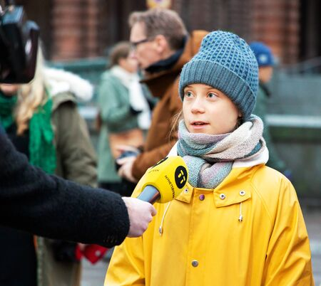 Stockholm, Sweden. 20 December, 2019. 16-year-old Swedish climate activist Greta Thunberg back in Sweden demonstrating on Mynttotget in Stockholm on Fridays. Interviewed by Swedish news agency TT