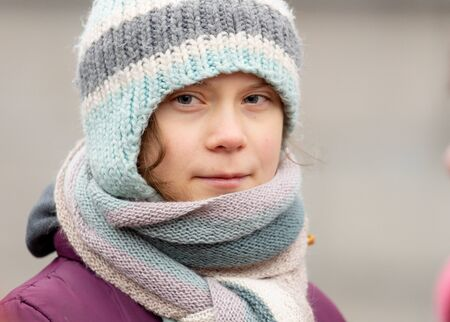 Stockholm, Sweden. 3 January, 2020. 17-year-old Swedish climate activist Greta Thunberg demonstrating on Mynttorget in Stockholm on her 17th birthday