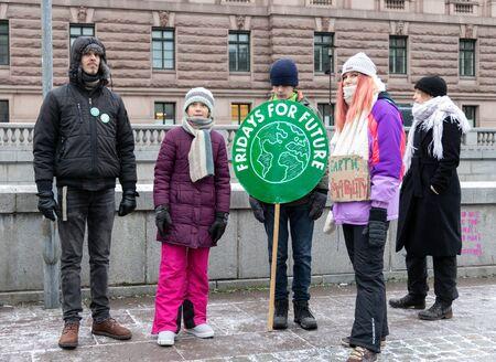 Stockholm, Sweden. 27 December, 2019. 16-year-old Swedish climate activist Greta Thunberg back in Sweden demonstrating on Mynttorget in Stockholm on Fridays. Sajtókép