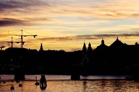 Silhouette of Stockholm skyline mid winter