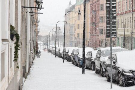 Snowy day in Stockholm in winter