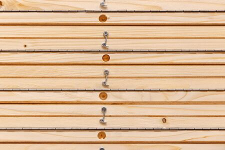 building material - wooden planks with hinge Stock Photo