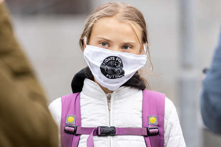 STOCKHOLM, SWEDEN - SEPTEMBER 11, 2020: 17-year-old Swedish climate activist Greta Thunberg demonstrating in Stockholm on Fridays.