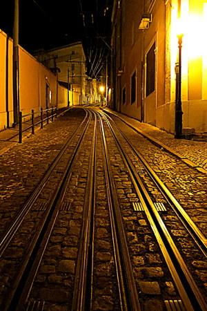 tramline: historic tramline at night, Lisbon, Portugal