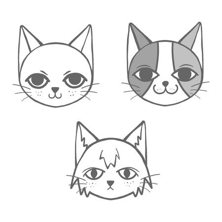 Set of 3 strange doodle cat Иллюстрация