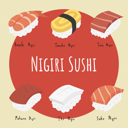 Set of Nigiri sushi on yellow and red background