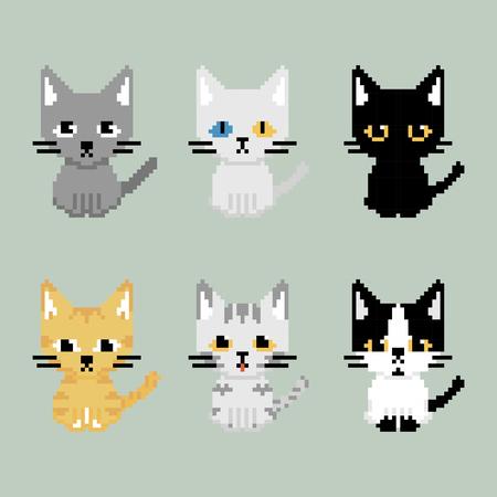Set of adorable cat in retro pixel art style.