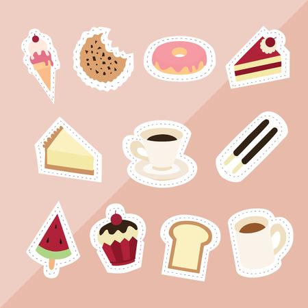 sweet desserts ice cream cookie donut red velvet cheesecake coffee watermelon bread cupcake milk on pink background