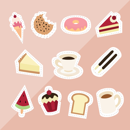 sweet desserts ice cream cookie donut red velvet cheesecake coffee watermelon bread cupcake milk on pink background