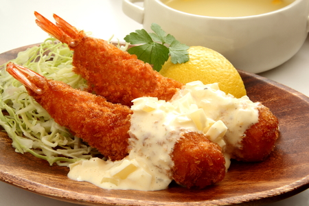 western food: Fried shrimp and soup