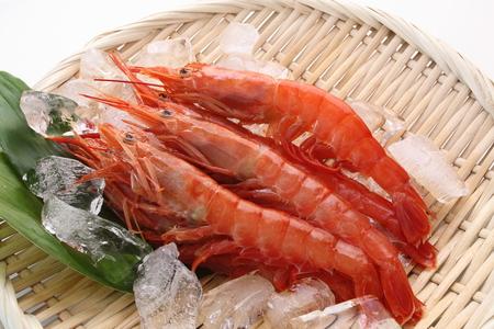 Fresh Raw Shrimp on colander with ice