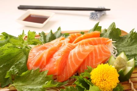 Fresh Slices of Raw Salmon Sashimi, Japanese Food