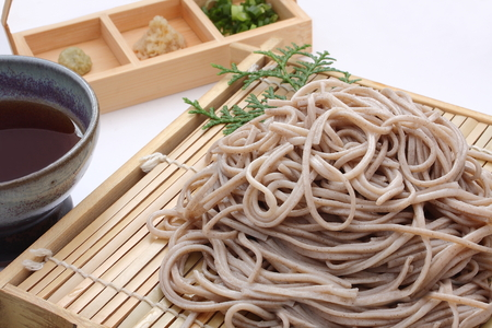 Chilled Buckwheat Noodles Soba, Japanese food Stock Photo