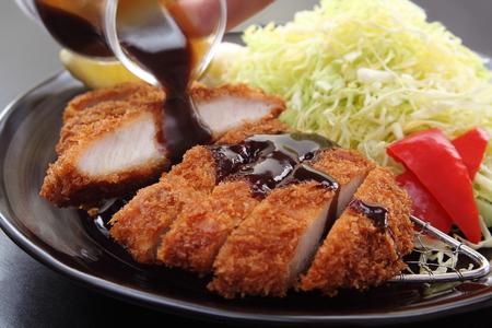 Deep Fried Pork Loin Cutlet with Salad and Lemon, Japanese Food