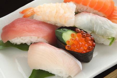 Mixed Sushi Platter, Japanese Food Stock Photo