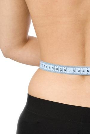Close up of a measuring tape around slim beautiful waist Stock Photo - 11723619