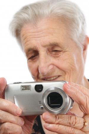 matron: Old Caucasian woman looking off camera Stock Photo