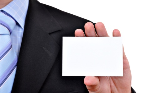 Business man with blank card  photo