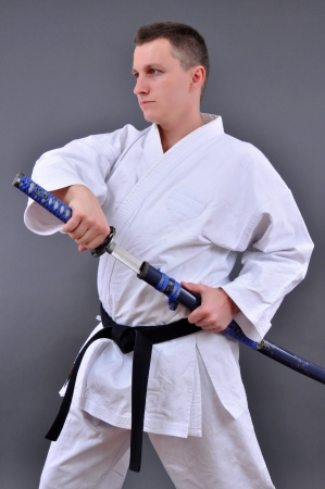 thrilling: thrilling to see individual open katana a single edged Japanese sword  Stock Photo