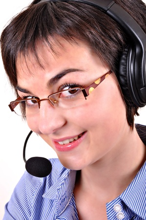 Call center woman with headset. photo