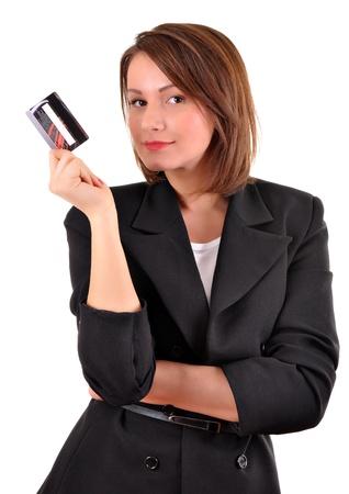 tarjeta visa: Mujer joven con una tarjeta de cr�dito