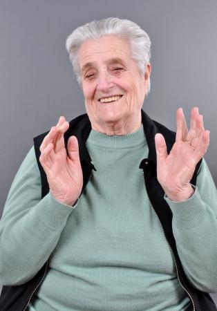 matron: Happy Old woman Stock Photo