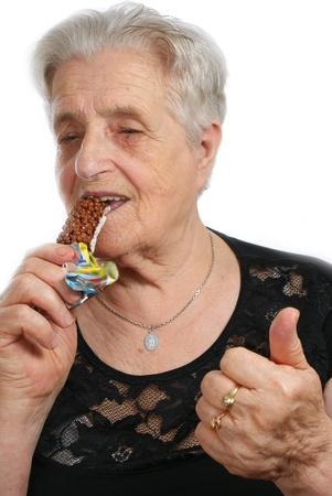 matron: Old woman eating muesli