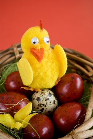 Easter eggs and artificial chicken Stock Photo - 12267505