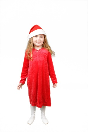 Little girl in Christmas hat , isolated on white Stock Photo - 16305493