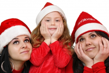 Xmas background  girlfriends in santa cap  Stock Photo - 16305532