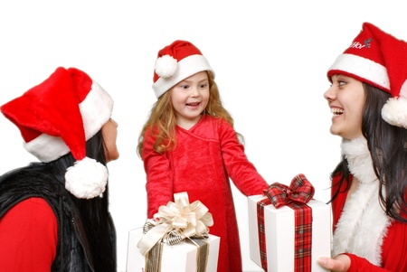 Christmas group portrait of three young  girls over white background  Stock Photo - 16305518