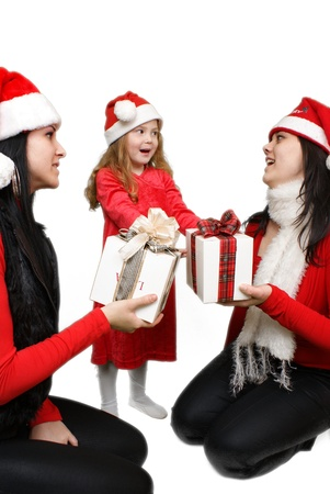 Christmas group portrait of three young  girls over white background  Stock Photo - 16305523