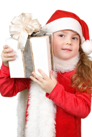 Girl in christmas hat with gift Stock Photo - 16305534