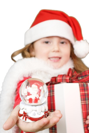 Little girl whit snowball in her hand Stock Photo - 16305497