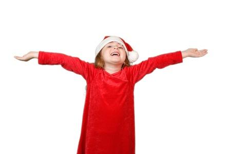 Happy little girl in christmas hat Stock Photo - 16305489