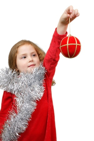 Little girl whit christmas globe in her hand Stock Photo - 16305517