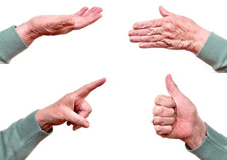 Senior womans hand isolated on white photo