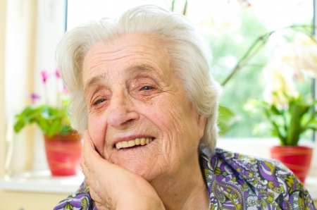 Happy old gray-haired woman  Stock Photo