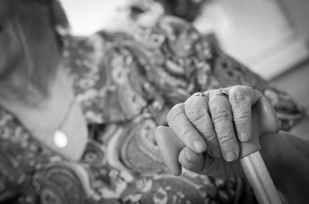 Hands of the old woman , black and white