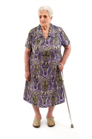 Old Woman on white background photo