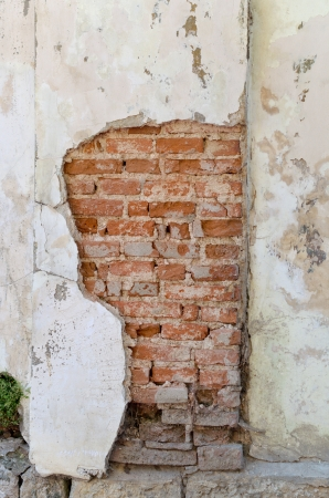 The destruction of a brick wall. background