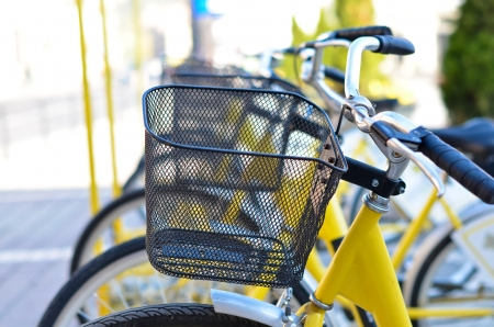 Yellow bicycles in a row Stock Photo - 16331179