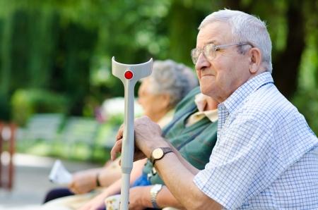 senior man with walking stick  Stock Photo - 25430987