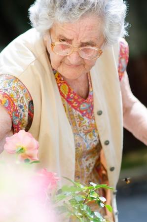 alte dame: Gl�ckliche alte Dame mit ihrem bunten Blumen Lizenzfreie Bilder