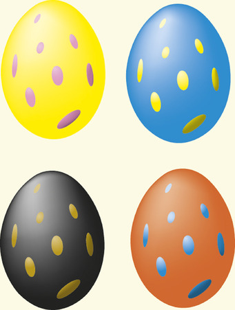 Colourful Easter eggs with dots