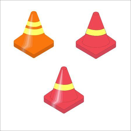 Set of orange plastic traffic cones icon. Vector illustration.