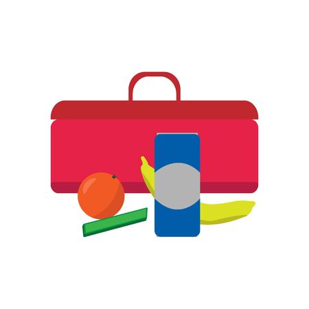 School lunch box set. Childrens lunch bag  soda, frut and other food. Kids school lunch icon in flat style. Vector illustration.