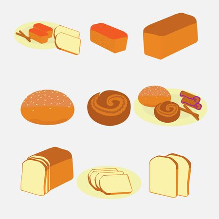 Vector illustration of bakery and pastry products on white background.