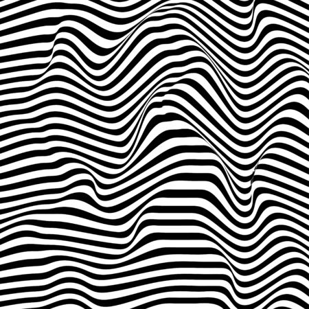 Optical illusion wave. Abstract 3d black and white illusions. Horizontal lines stripes pattern or background with wavy distortion effect. Vector illustration.  イラスト・ベクター素材