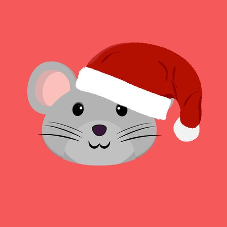 Flat vector illustration. Funny cartoon mouse. Mouse with smile. 일러스트